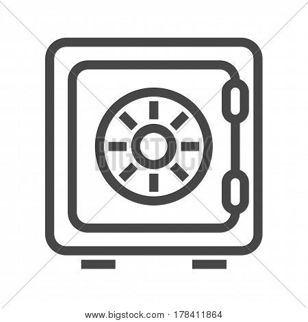 Safe Thin Line Vector Icon. Flat icon isolated on the white background. Editable EPS file. Vector illustration.
