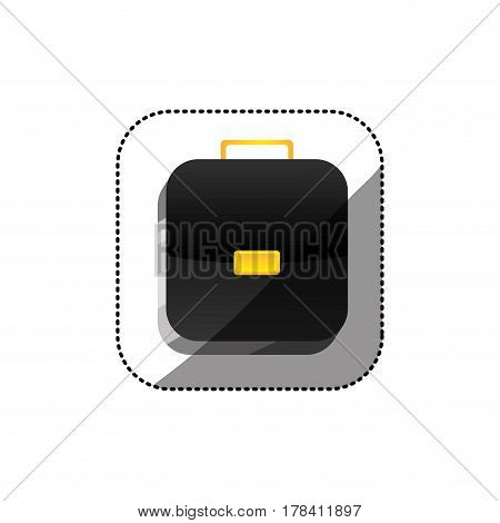 sticker color square 3d button with briefcase vector illustration