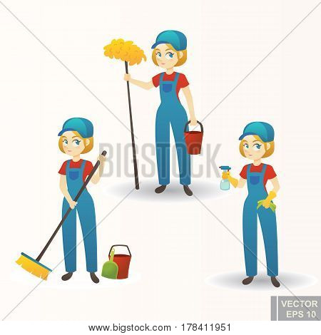 Illustration Of A Cute Cartoon Girl Providing Housecleaning Service Set Woman Clean House