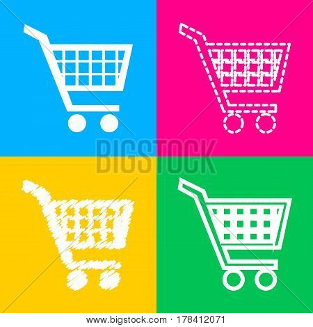 Shopping cart sign. Four styles of icon on four color squares.