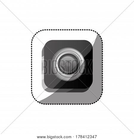 sticker color square button with realistic analog camera lens vector illustration