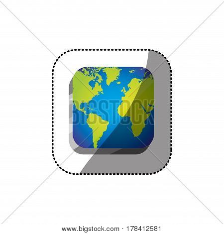sticker color square 3d button with map continents vector illustration
