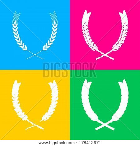 Wheat sign illustration. Spike. Spica. Four styles of icon on four color squares.