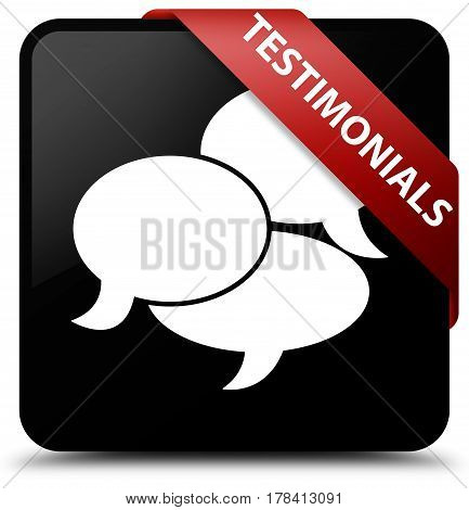 Testimonials (comments Icon) Black Square Button Red Ribbon In Corner