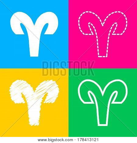 Aries sign illustration. Four styles of icon on four color squares.