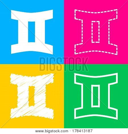 Gemini sign. Four styles of icon on four color squares.