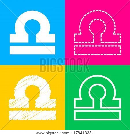 Libra sign illustration. Four styles of icon on four color squares.