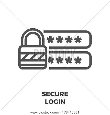 Secure Login Thin Line Vector Icon Isolated on the White Background.