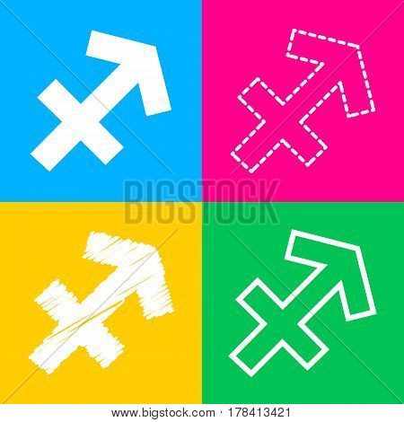 Sagittarius sign illustration. Four styles of icon on four color squares.