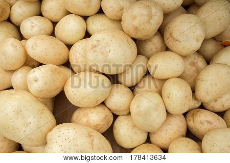 Fresh Young Potatoes For Sale At Local Market