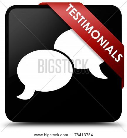 Testimonials (chat Icon) Black Square Button Red Ribbon In Corner