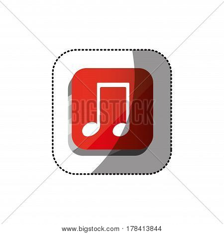 sticker color square 3d button with musical note vector illustration