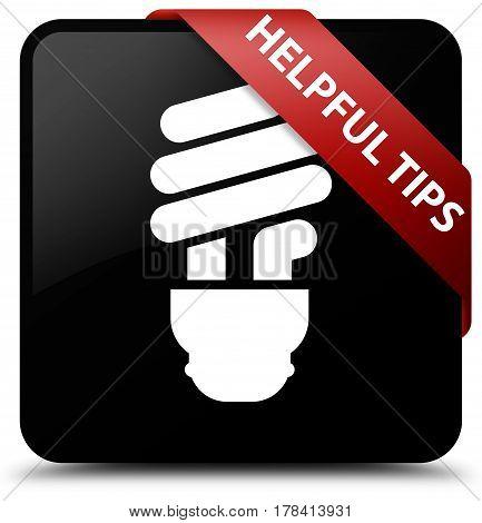 Helpful Tips (bulb Icon) Black Square Button Red Ribbon In Corner