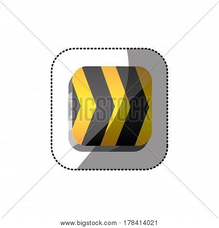 sticker color square 3d button with road traffic barrier vector illustration