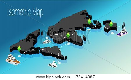 The concept of isometric map of the world. 3d flat illustration of a map of the world. Isometric map of world cargo transportation