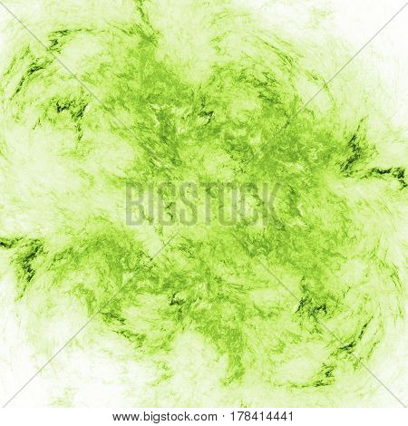 Abstract Swirly Fractal Texture In Bright Green Colors. Digital Art. 3D Rendering.