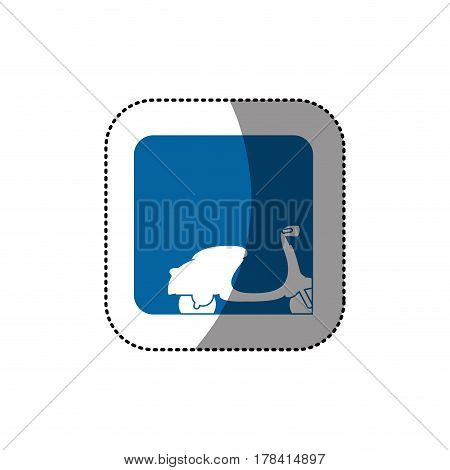 sticker color square button with contour classic scooter vector illustration
