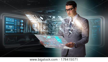 Businessman in big data management concept