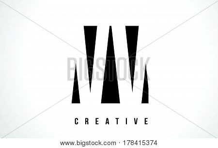 Ww W White Letter Logo Design With Black Square.