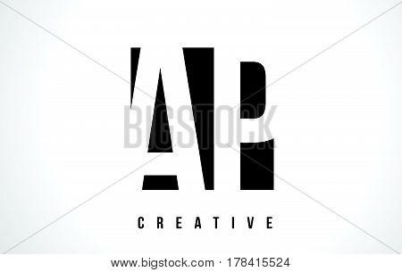 Ap A P White Letter Logo Design With Black Square.