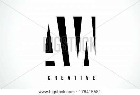 Aw A W White Letter Logo Design With Black Square.