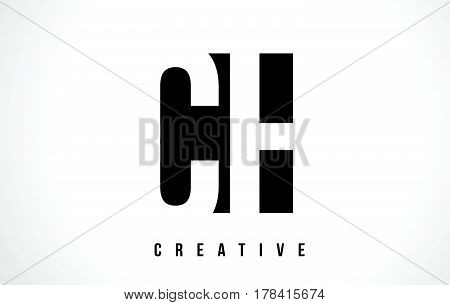 Ch C H White Letter Logo Design With Black Square.