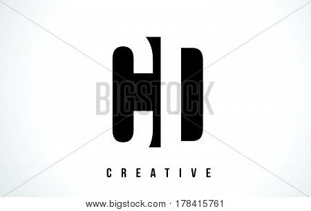Cd C D White Letter Logo Design With Black Square.