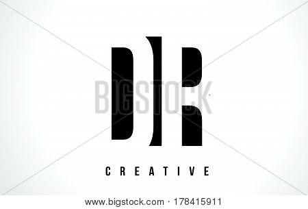 Dr D R White Letter Logo Design With Black Square.