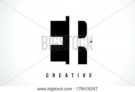 Er E R White Letter Logo Design With Black Square.