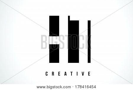 Ht H T White Letter Logo Design With Black Square.