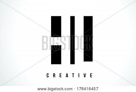 Hl H L White Letter Logo Design With Black Square.