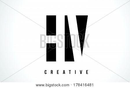 Hv H V White Letter Logo Design With Black Square.