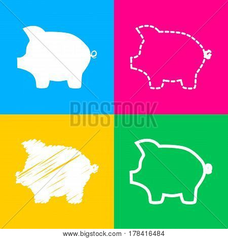 Pig money bank sign. Four styles of icon on four color squares.