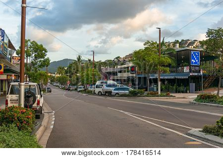 Airlie Beach Main Street With Shops, Accommodations And Cafes