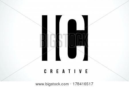 Ic I C White Letter Logo Design With Black Square.