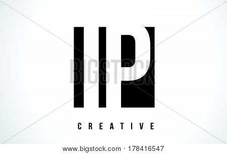 Ip I P White Letter Logo Design With Black Square.