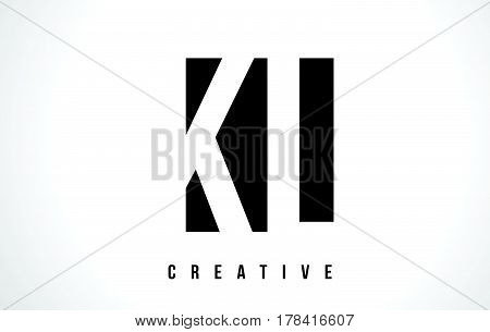Kl K L White Letter Logo Design With Black Square.