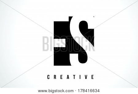 Fs F S White Letter Logo Design With Black Square.