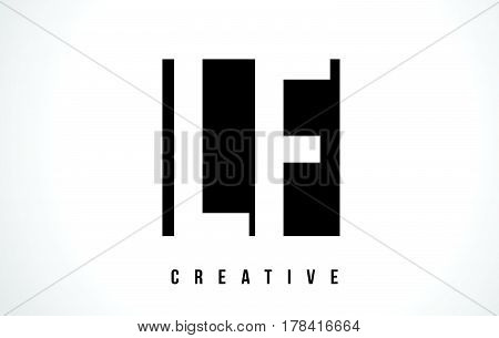 Lf L F White Letter Logo Design With Black Square.