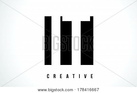It I T White Letter Logo Design With Black Square.