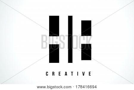 He H E White Letter Logo Design With Black Square.