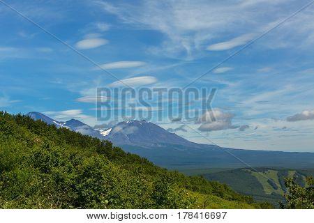 Beautiful lenticular clouds over the Avachinskaya Sopka in Petropavlovsk-Kamchatsky