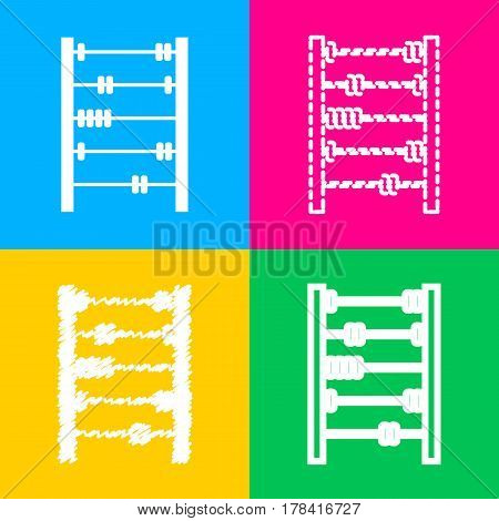 Retro abacus sign. Four styles of icon on four color squares.