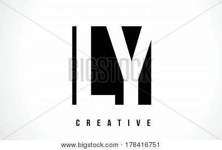 Ly L Y White Letter Logo Design With Black Square.