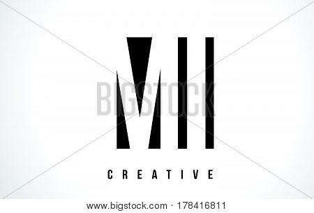 Mi M I White Letter Logo Design With Black Square.