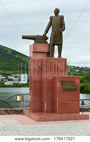 Petropavlovsk-Kamchatsky, Russia - August 14, 2016: Monument to Vasily Zavoyko on the shore of Kultushnoy Lake in Petropavlovsk-Kamchatsky.