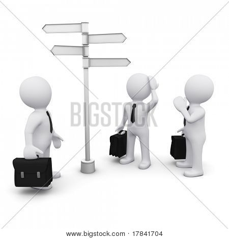 3D man making choice standing near sign post