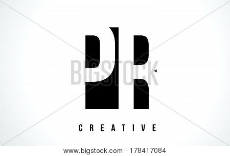 Pr P R White Letter Logo Design With Black Square.