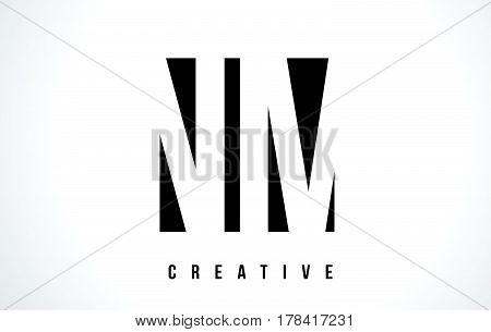 Nm N M White Letter Logo Design With Black Square.