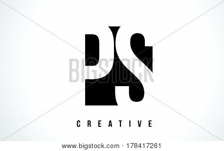 Ps P S White Letter Logo Design With Black Square.